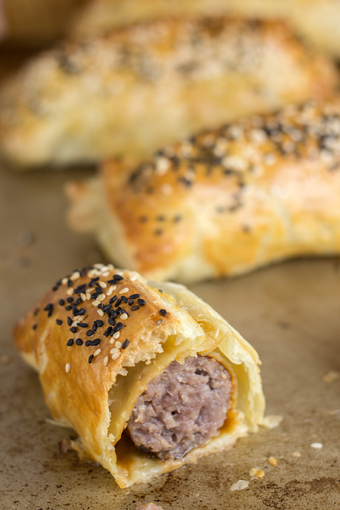 Puff Pastry Bratwurst with Curry Ketchup - The Kitchen Maus